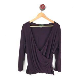 Lauren Ralph Lauren L top knit faux wrap purple